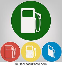 Gas pump sign. Vector. 4 white styles of icon at 4 colored circles on light gray background.