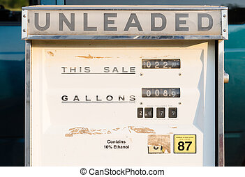 Gas Pump Unleaded Mechanical Vintage Obsolete Equipment - A...