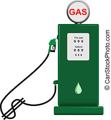 gas pump - vector concept illustration of gas pump with hose...