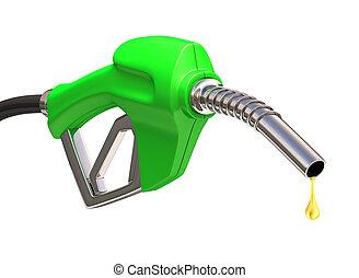 gas pumpa, över, vit