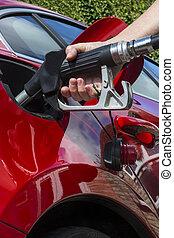 gas, -, pumpa, fyllande, bil, drivmedel