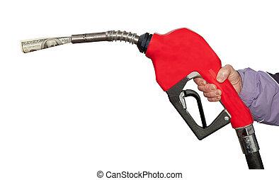 gas pumpa, lagförslag, ena hundra dollar, bakgrund, vit, en