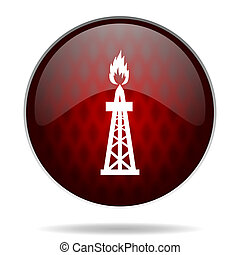 gas red glossy web icon on white background