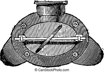 Gas retort, end view, vintage engraving. - Gas retort, end...
