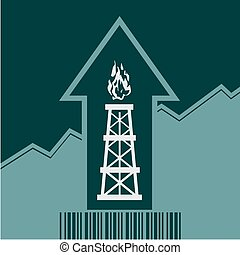 Gas rig icon on grow up arrow and bar code