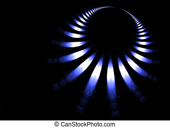 Gas ring abstract background in blue and black