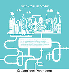 gas, schematisch, het produceren, raffinaderij, natuurlijke
