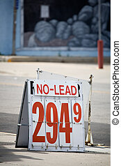 gas sign no lead - gas sign advertising pricing of no lead...
