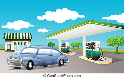 Gas staion - Illustration of a gas station
