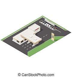 Gas station and car wash service isometric icons set