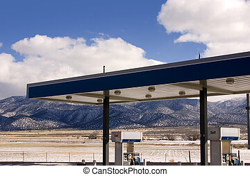 Gas Station and Cloudy Skies - Gas Station with fields and...