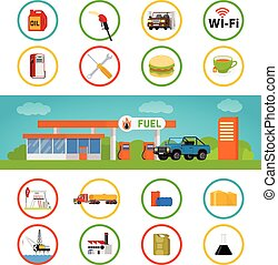 Gas station and fuel pump with a shop. Vector illustration and icons