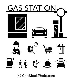 Gas Station and Service Objects icons Set - Black and white,...