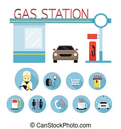 Gas Station and Service Objects icons Set - Flat Design,...