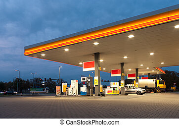 gas station at evening