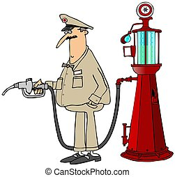 Gas station attendant - This illustration depicts a gas...