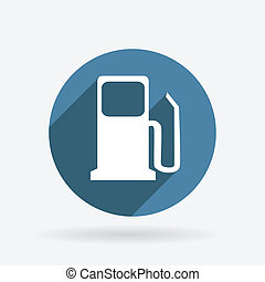 gas station. Circle blue icon with shadow.