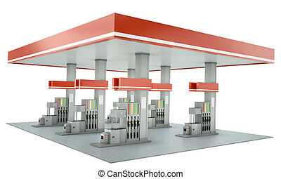 Gas station - Contemporary gas station with blank signs...