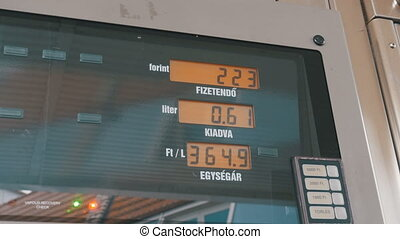 Gas Station Counter. Gas Costs Rising for Consumers at Pumps