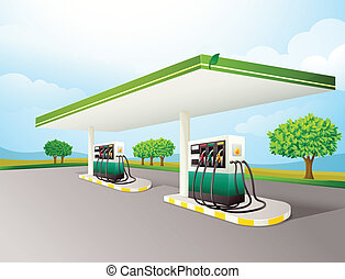 Gas station - Illustration of a gas station scene