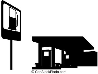 Gas station - Filling station and a road sign. Black and...