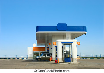 Gas station - Gas refuel station and blue sky