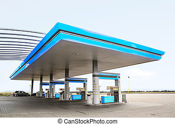 Gas station - Gas refuel station with blue roof close-up
