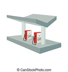 Gas station icon, cartoon style
