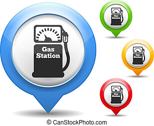 Gas Station Icon - Map marker with icon of a gas station,...
