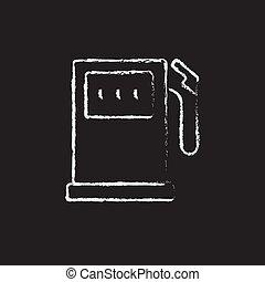 Gas station icon drawn in chalk. - Gas station hand drawn in...