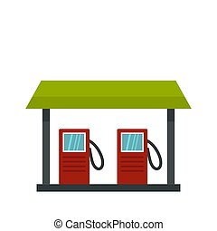 Gas station icon, flat style