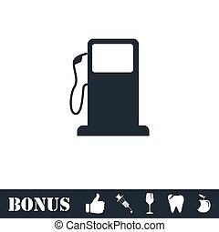 Gas station icon flat. Vector illustration symbol and bonus...