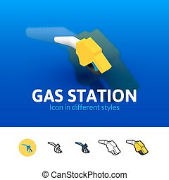 Gas station icon in different style