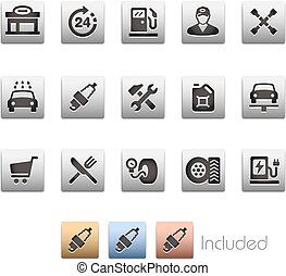 Gas Station Icon set - Metalbox Series