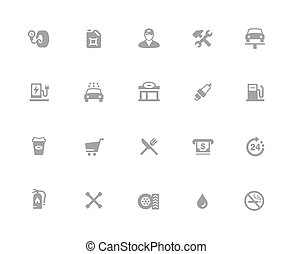 Gas Station Icons // 32px White Series