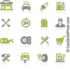 Gas Station Icons. Natura - Icons for your web, mobile or...