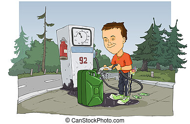 Gas station - A man poured gasoline from the gas station
