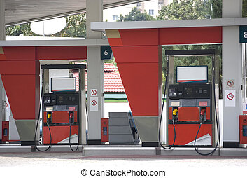 Gas Station - Image of petrol pumps at a gas station.