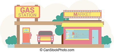 Gas station in pastel colors.