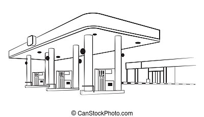 Gas station, isolated on white. Vector illustration.