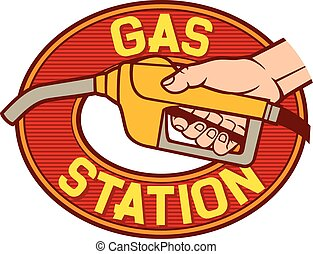 gas station label (gas station symbol, hand holding a fuel ...