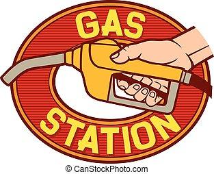 gas station label (gas station symbol, hand holding a fuel pump, man pumping gasoline fuel, gasoline fuel nozzle, gas pump hose fuel dispenser)