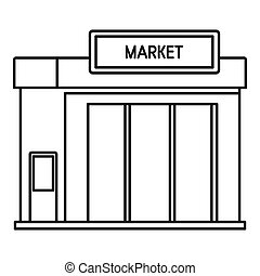 Gas station market icon, outline style