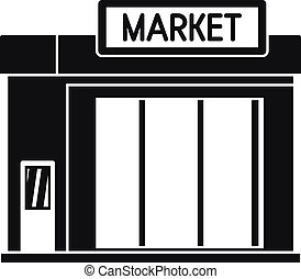 Gas station market icon, simple style
