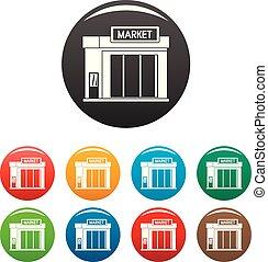 Gas station market icons set color