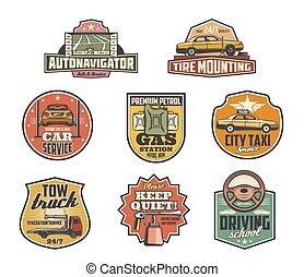 Gas station, mechanic garage and car service icons