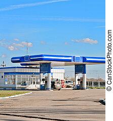 gas station on a background sky