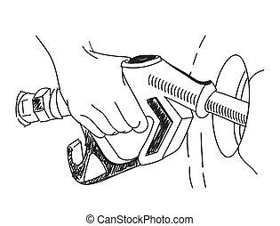 Gas station pump. - Man filling gasoline fuel in car holding...