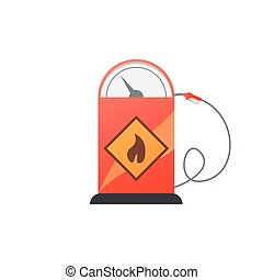 Gas station pump with fuel nozzle. Vector illustration