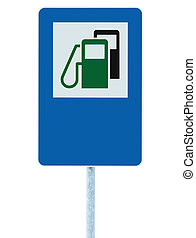 Gas Station Road Sign, Green Energy Concept Gasoline Fuel